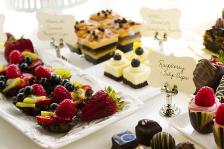 Dessert bar with assorted chocolate sweets. photo