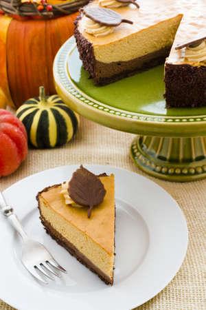 Pumpkin white chocolate cheesecake for Thanksgiving. photo