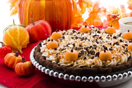 Chocolate salted caramel pumpkin cream pie for Thanksgiving.