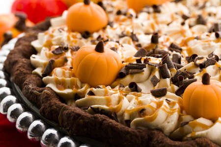 Chocolate salted caramel pumpkin cream pie for Thanksgiving. Stock Photo - 20454909