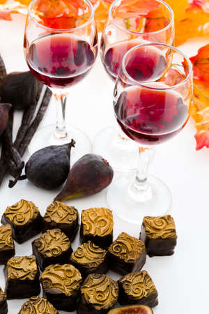 Port fig cut ganache truffles for Thanksgiving. photo