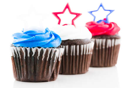 patty cake: Patriotic holiday cupcakes decorated with stars.