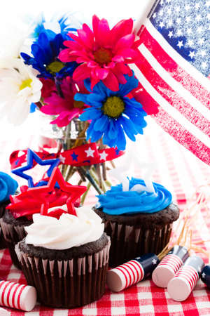 July 4th picnic with patriotic holiday cupcakes. photo