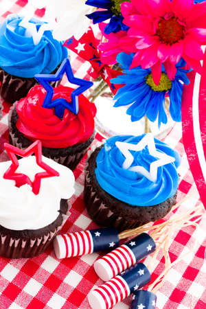 patty cake: July 4th picnic with patriotic holiday cupcakes.