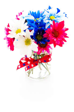 Patriotic holiday bouques with daisies for July 4th. photo