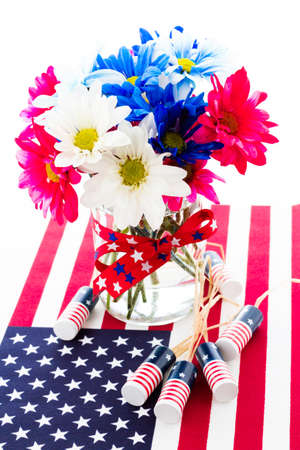 Patriotic holiday bouques with daisies for July 4th.