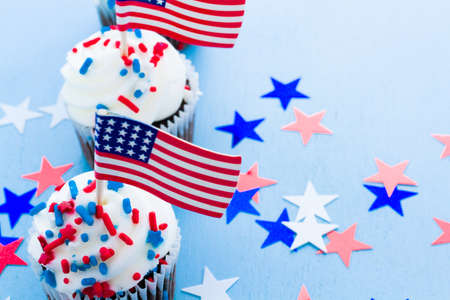 patty cake: Patriotic holiday cupcakes decorated for july 4th. Stock Photo