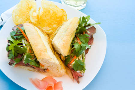 Gourmet banh-mi sandwich with chips on the side. photo
