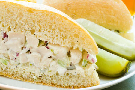 Gourmet chicken salad sandwich with chips on the side. photo