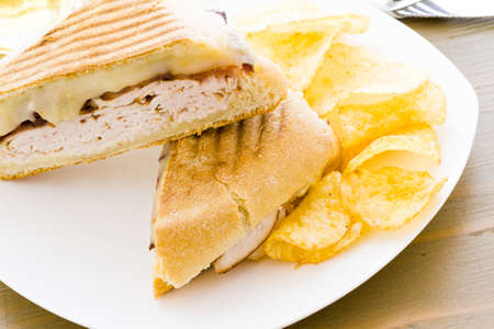 Lunch panini with chips on the side. photo