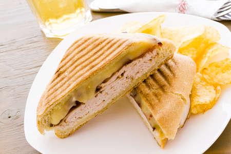 panino: Almuerzo panini con patatas fritas en el lado.