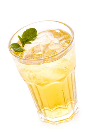 Green iced tea on a white background. photo