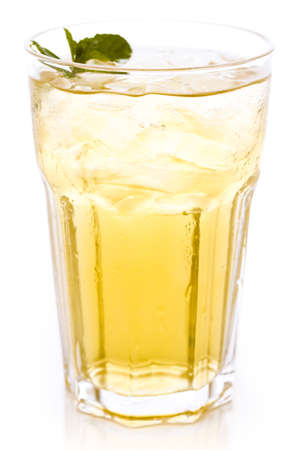 Green iced tea on a white background.