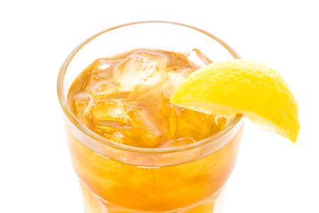 palmer: Arnold Palmer cold drink with lemon wedge.