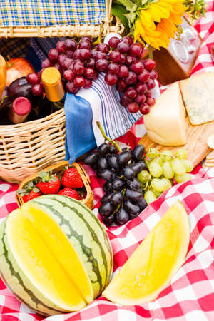 Summer picnic with a basket of food in the park.