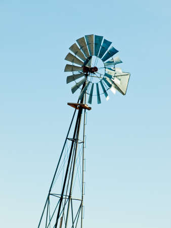fort collins: Windmill on cattle station, Fort Collins, Colorado. Stock Photo