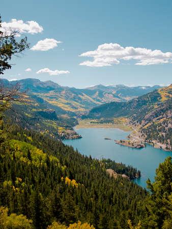 View of Lake San Cristobal in brilliant fall colors. Near lake City, Colorado.