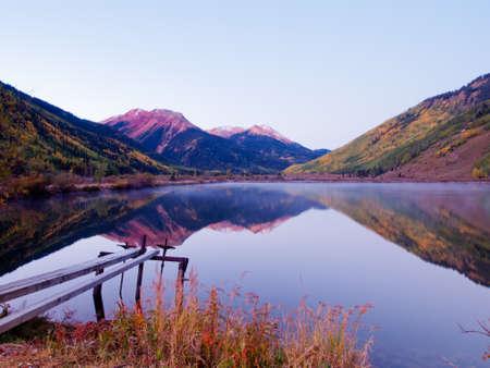 Crystal Lake in autumn near Ouray, Colorado. photo