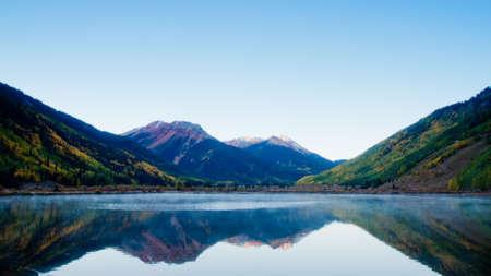 Crystal Lake in autumn near Ouray, Colorado.