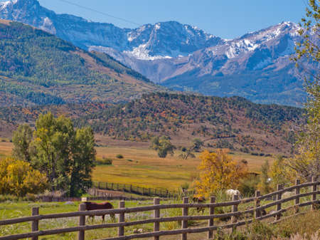 Double RL Ranch in autumn with a view of the Dallas Divide on the back. photo