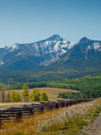 Split rail fence on the Last Dollar Ranch, Colorado. Stock Photo