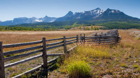 split rail: Split rail fence on the Last Dollar Ranch, Colorado. Stock Photo
