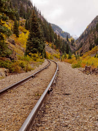 Railroad tracks. This train is in daily operation on the narrow gauge railroad between Durango and Silverton Colorado photo
