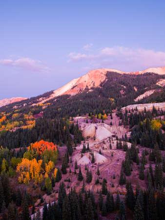 yankee: Red mountain and Yankee Girl Mine near Ouray, Colorado. Stock Photo
