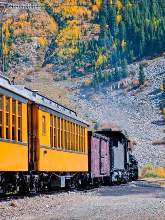 Durango to Silverton Narrow Gauge Train.  This train is in daily operation on the narrow gauge railroad between Durango and Silverton Colorado