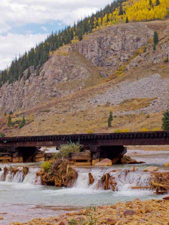 narrow gauge railroad: Railroad bridge. This train is in daily operation on the narrow gauge railroad between Durango and Silverton Colorado