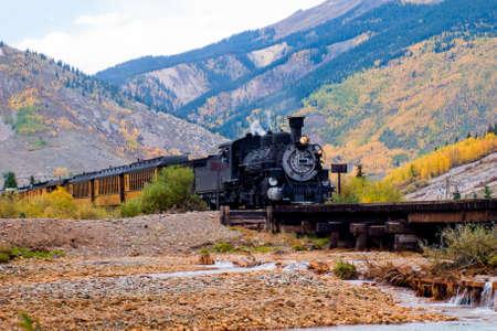 Dampflok-Motor. Dieser Zug ist im täglichen Betrieb auf der Schmalspurbahn zwischen Durango und Silverton Colorado