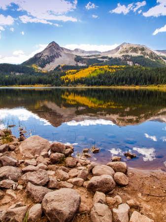 Lost lake in autumn. Colorado. photo