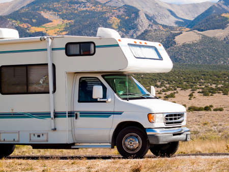 motor home: Motor home near the Great Sand Dunes, Colorado. Stock Photo