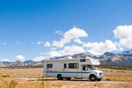 rocky road: Motor home near the Great Sand Dunes, Colorado. Stock Photo