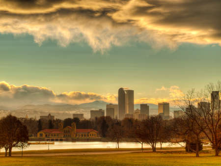 A view of Denver, Colorado downtown right before sunset. Stock Photo