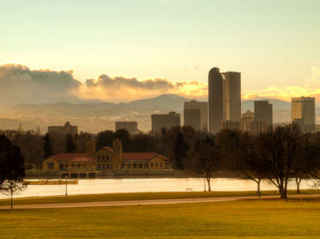 pano: A view of Denver, Colorado downtown right before sunset. Stock Photo