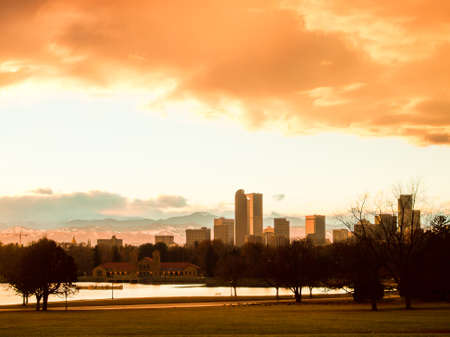 carpathian mountains: A view of Denver, Colorado downtown right before sunset. Stock Photo