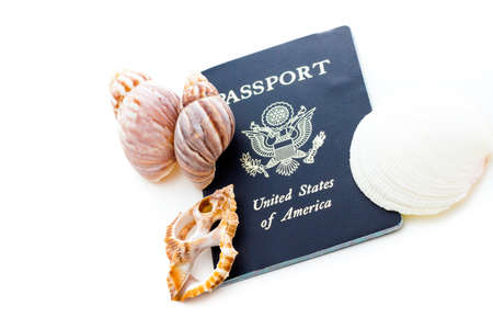 Unites States of America passport on a white background. photo