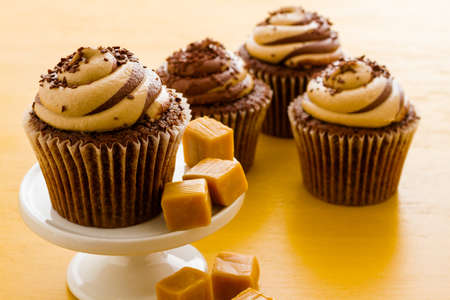 Gourmet chocolate caramel swirl cupcake with chocolate sprikles. Imagens