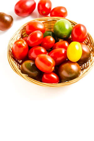 Multicolored cherry tomatoes picked from organic garden. Stok Fotoğraf