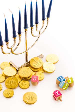 hebrew alphabet: A still life composed of elements of the Jewish ChanukahHanukkah festival.