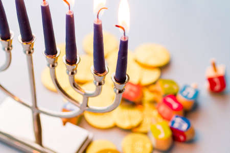 chanuka: A still life composed of elements of the Jewish ChanukahHanukkah festival.