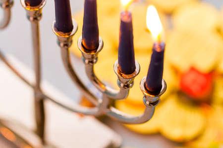 A still life composed of elements of the Jewish ChanukahHanukkah festival. photo