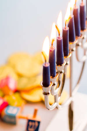 chanukkah: A still life composed of elements of the Jewish ChanukahHanukkah festival.