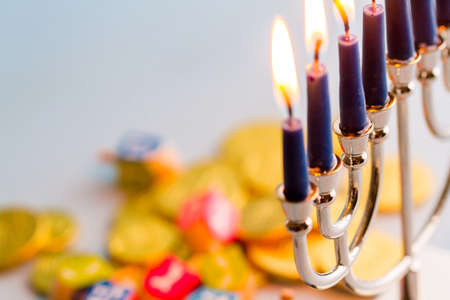 gelt: A still life composed of elements of the Jewish ChanukahHanukkah festival.