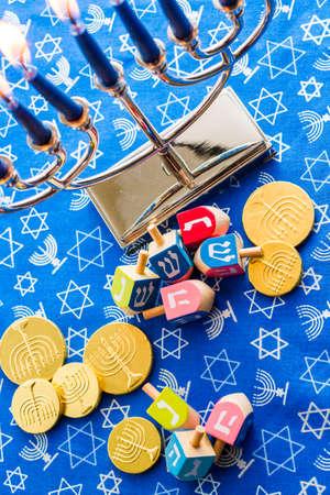 A still life composed of elements of the Jewish Chanukah/Hanukkah festival. Banco de Imagens