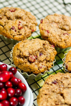 Homemade cranberry muffins baked for Christmas breakfast.