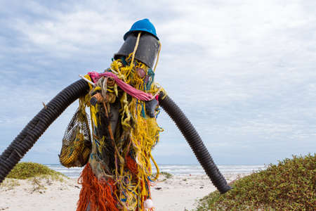 fine particles: Sculpture made out of beach waste.