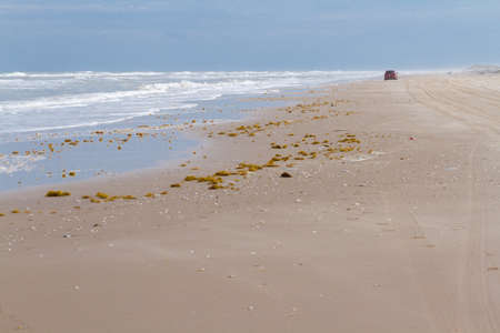 distanation: Winter on the beach of South Padre Island. Stock Photo