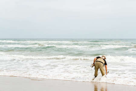 south padre: Beach fishing on South Padre Island. Stock Photo